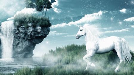 misty: Unicorn and misty waterfall Stock Photo
