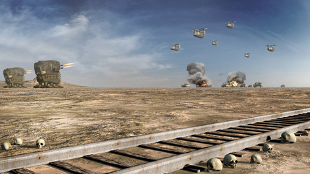 battle: Battle scenery with futuristic machines Stock Photo