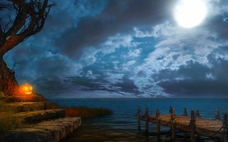 docks: Halloween scene with pumpkin and lake