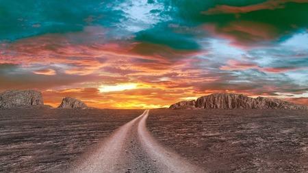 Twilight over rocky desert Stock Photo