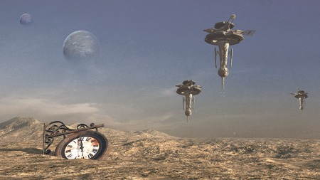 wasteland: Wasteland with rusty clock and space stations