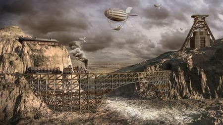 旧上飛行船鉱山 写真素材
