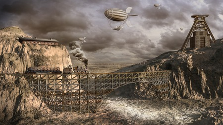 Airships over old mine