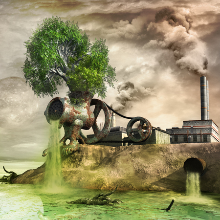Surrealistic image with giant rusty mincer and factory