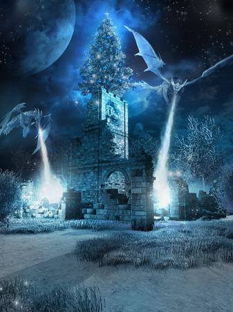 Deux dragons de glace et arbre de Noël Banque d'images - 60012027