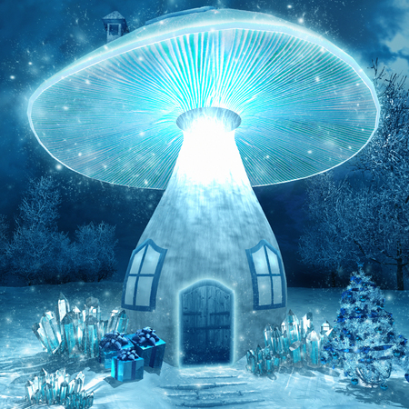 mushroom house: Glowing mushroom house
