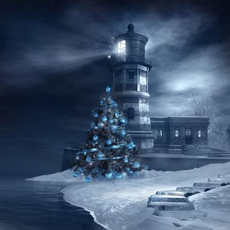 Vuurtoren en blauwe kerstboom Stockfoto