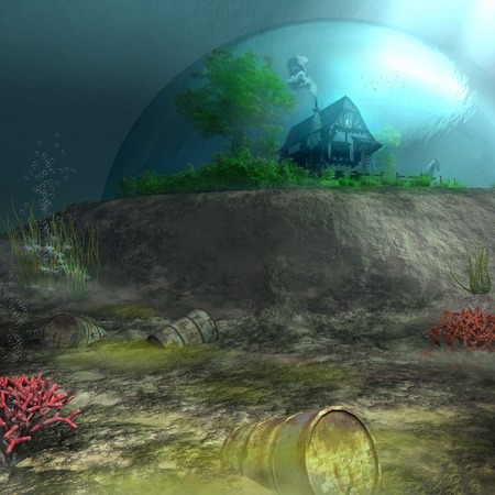 sea pollution: House at the bottom of the polluted sea