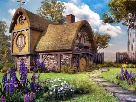 Fairy house with colorful flowers Foto de archivo