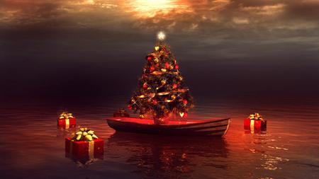 ボートとクリスマス ツリー