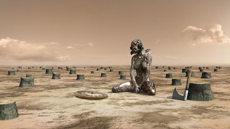 wasteland: Surrealistic scene with sitting woman and rusty clock