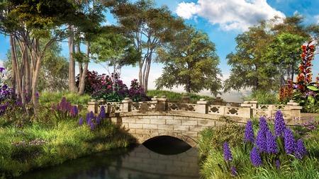 나무와 바이올렛 히아신스가있는 돌 다리 스톡 콘텐츠