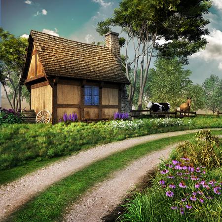 Altes Landhaus mit Blumen und Bäumen