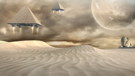 Science fiction scene with desert, sphinx and flying pyramids Banco de Imagens