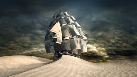 surrealistic: Surrealistic scene with ship and desert