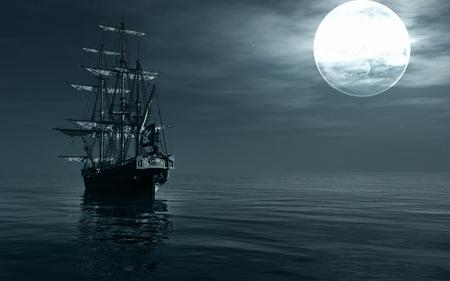night: A ship sailing at night Stock Photo