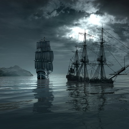 shipwreck: Ship sailing through the sea by the shipwreck