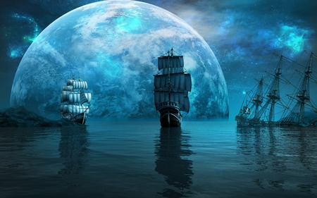 Two sailing ships and huge blue planet