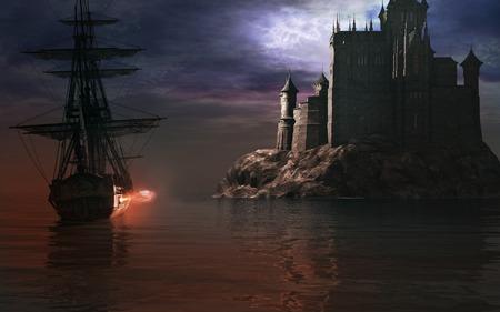 Sailing ship near the castle