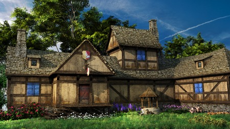Old inn with colorful flowers Stock Photo