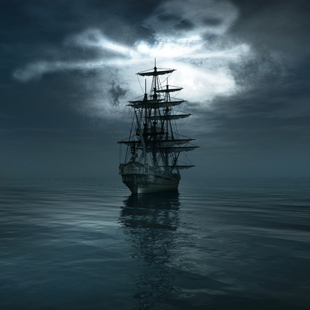 jolly: Jolly Roger in the sky over the sailing ship