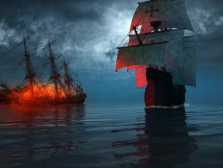 battle: Ship sailing near a blazing wreck