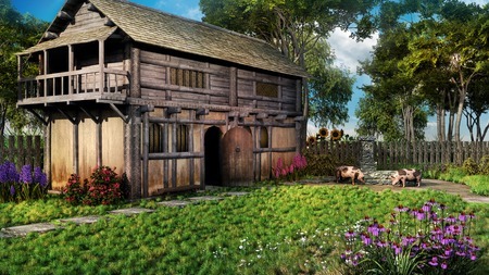 the courtyard: Medieval hut with flowering courtyard