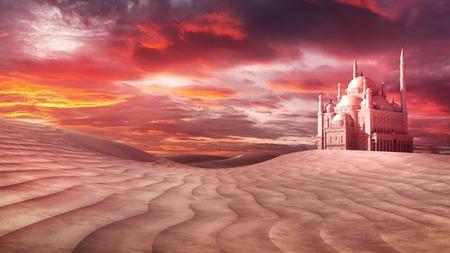 desert storm: Mosque on the desert Stock Photo