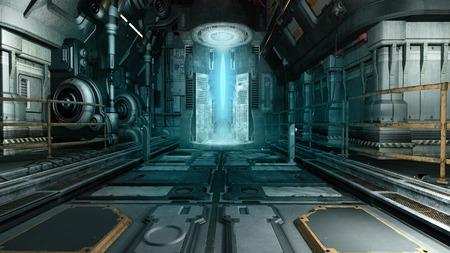 未来的なマシンと宇宙船内部