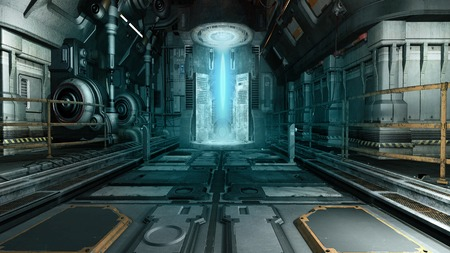 Spaceship interior with a futuristic machine