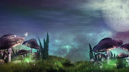 night: Night over fairytale meadow Stock Photo
