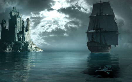 sailing ships: Pirate ship sailing near a gothic castle Stock Photo