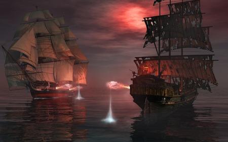 Seeschlacht zwischen zwei alten Schiffe