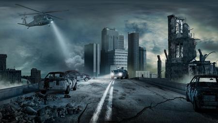 도시와 장면 eartquake에 의해 파괴. 스톡 콘텐츠