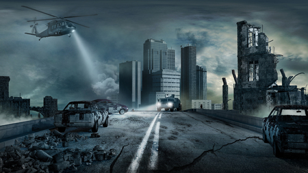Scena z miasta zniszczone przez eartquake.
