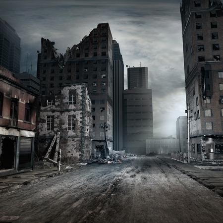 Post apocalyptische scène met stadsstraat Stockfoto