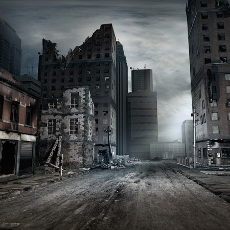 Post apocalyptic scene with city street