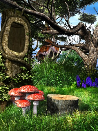 hollow tree: Fairytale scene with hollow tree and toadstools Stock Photo