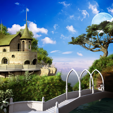 palace: Elven scenery with bridge, palace and tree Stock Photo