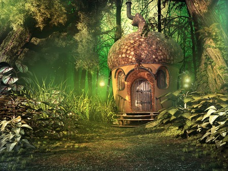 Deep forest scenery with fairy house, trees and plants Stock Photo