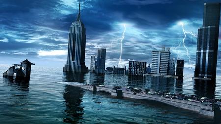 lightnings: Sunken city with stormy sky and lightnings