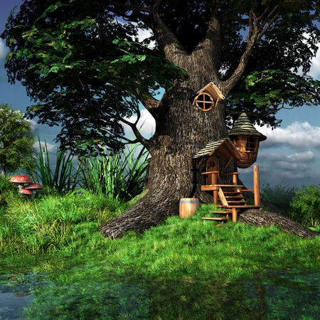 Forest gnome house on the marsh