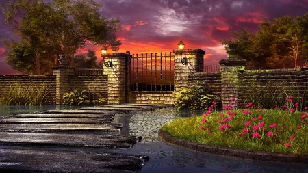 afterglow: Autumn scenery with stone garden gate, lanterns and trees