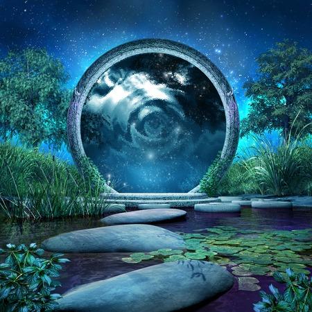 魔法のポータルと青い湖のファンタジーのシーン 写真素材