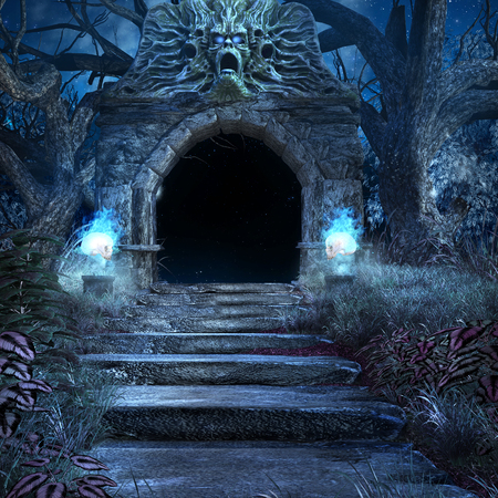 Entrance to the scary crypt with stairs and old trees