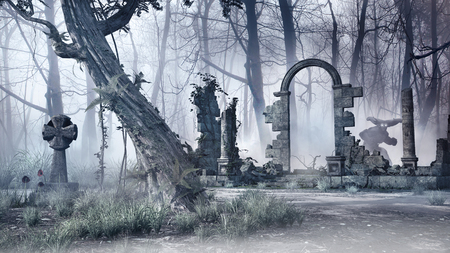 gloom: Gloomy scenery with ruins of ancient temple