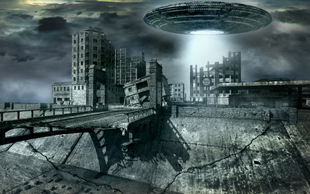 saucer: Flying saucer over destroyed city