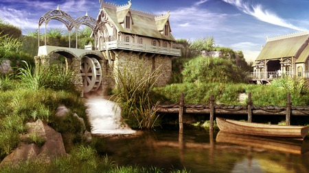 molino de agua: un paisaje de cuento de hadas con el molino de agua, un estanque y barco