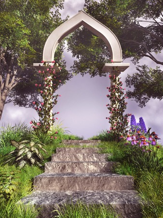 stone arch: Stone arch with roses in the middle of a garden