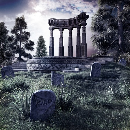 ruins: Cemetery with ruins of ancient temple